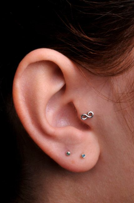 INFINITY / TRAGUS /  Cartilage stud / Ring / Sterling Silver. Handcrafted. Select a Backing and Gauge.