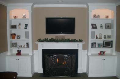 Bookcase Entertainment Center Around Fireplace Remodel