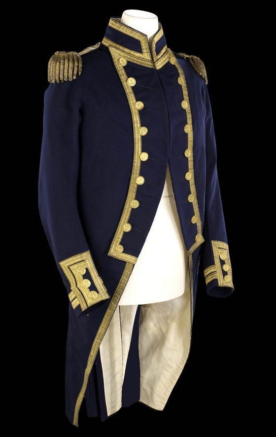 Full dress coat for a captain, over three years seniority. It belonged to Alexander Hood (1758-98). The coat is of blue wool and features a stand-up collard edged with gold lace, as are the button back lapels and front edge of the skirts. The sleeves feature the distinctive 'mariners cuff', which has been edged in gold lace, and there are a further two rows of lace on the sleeve to indicate rank.