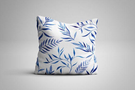 Blue Leaves Cushion. 12 x 12 inch Cushion by NJsBoutiqueCo