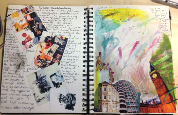 Robert Rauschenber Research Sketchbook Pages - Guinevere Saunders Artist