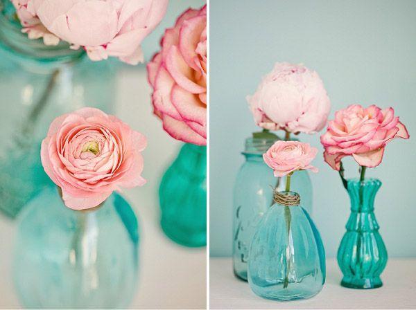 INSPIRACIÓN EN ROSA Y AZUL Decoración en tonos rosas y azules pastel, para una boda muy especial en www.unabodaoriginal.es/blog