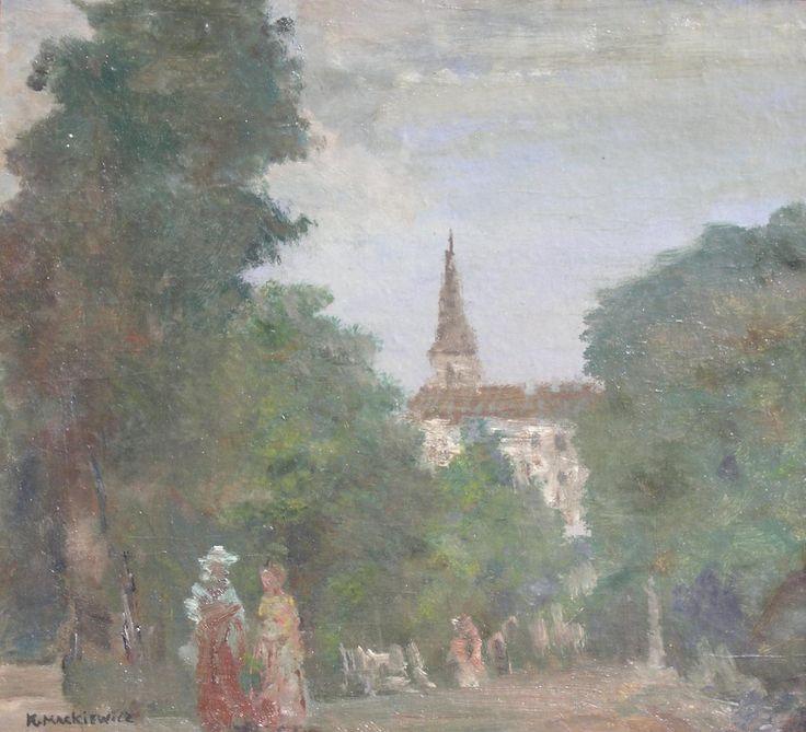 Konstanty MACKIEWICZ ,Pejzaż z kościołem , olej, płyta, 46 x 50,5 cm