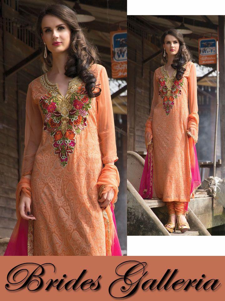 Peach Pure Chiffon Punjabi Suit