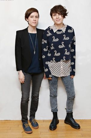 "Tegan and Sara on their music and styles. ""...Could be described as friendly-hipster"" haha okay? some ideas with short hair and thin physiques"