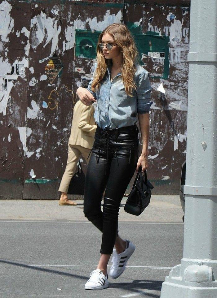 17 meilleures id es propos de pantalons en cuir noir sur pinterest tenue avec pantalon en - Tenue cuir femme ...