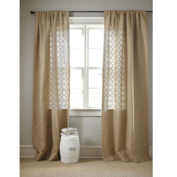 Quatrefoil Embroidered Burlap Panel Wallcovering Window Treatments Pinterest Quatrefoil