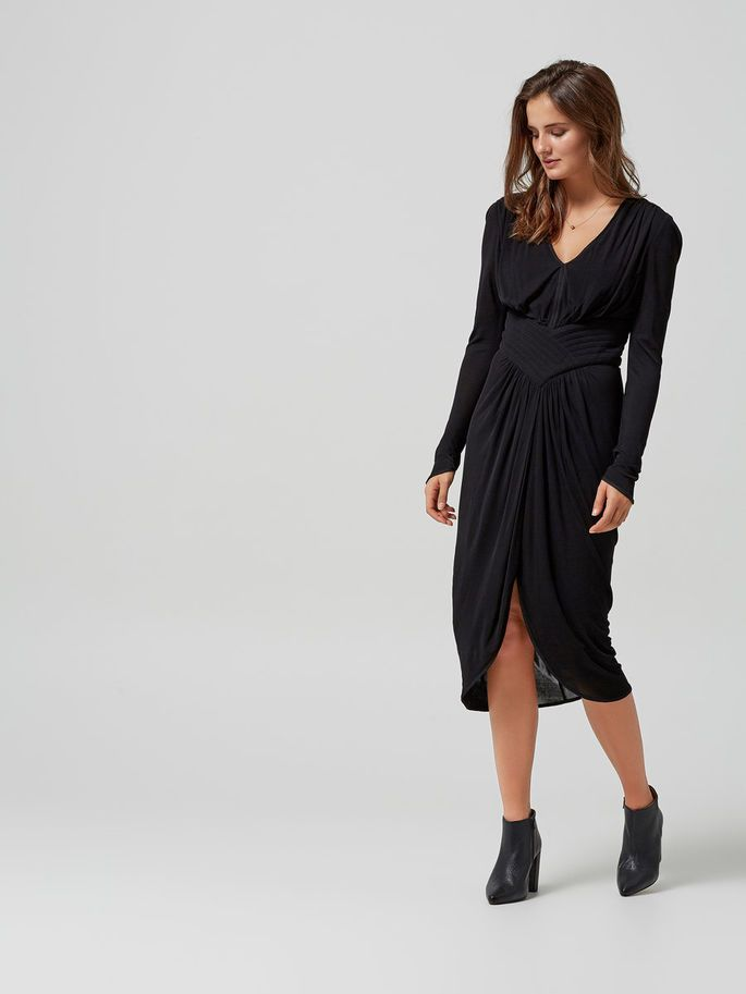 VISCOSE - LONG SLEEVED DRESS, Black, large