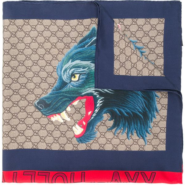 Gucci GG Supreme wolf scarf ($495) ❤ liked on Polyvore featuring men's fashion, men's accessories, men's scarves, multicolour and mens silk scarves