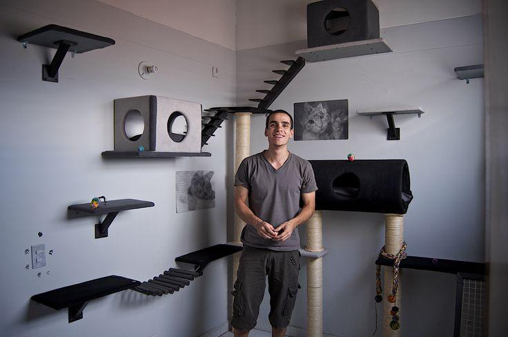 Lucas Arango / Construye gimnasios para gatos.