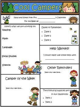 camping theme newsletter template word teacherspayteachers