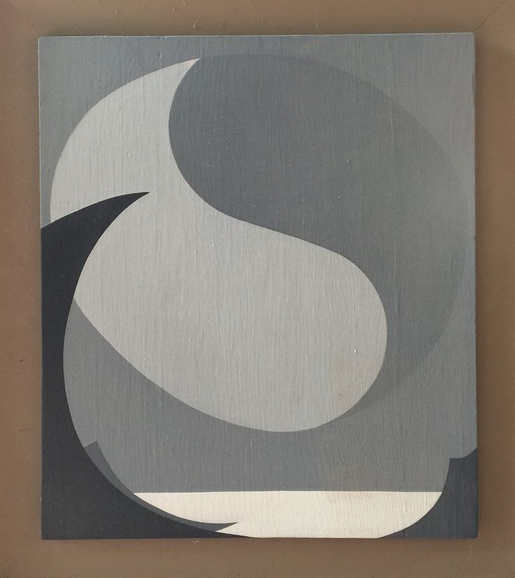 Hard Edge painting of moon over the ocean by Eva Slater done in the 1960's on panel. (For sale on ebay)