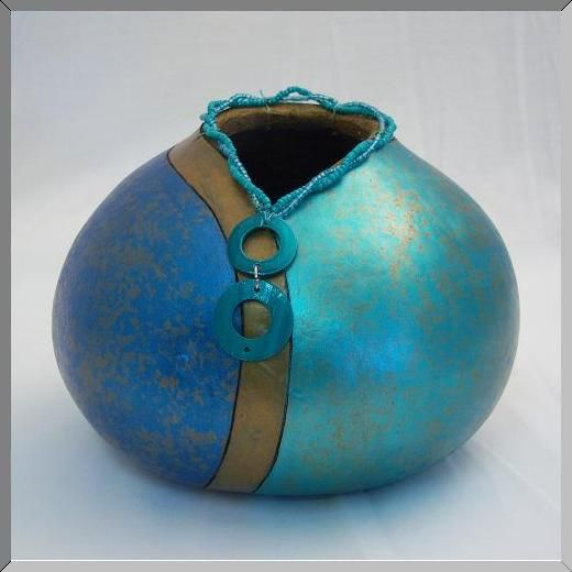 gourd painting ideas | Gourd Art for Sale Designs Teal We go Home
