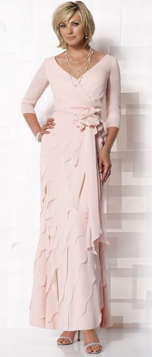 Mock Wrap with Diagonally Tiered Scallop Chiffon A-line Mother of the Bride Dress