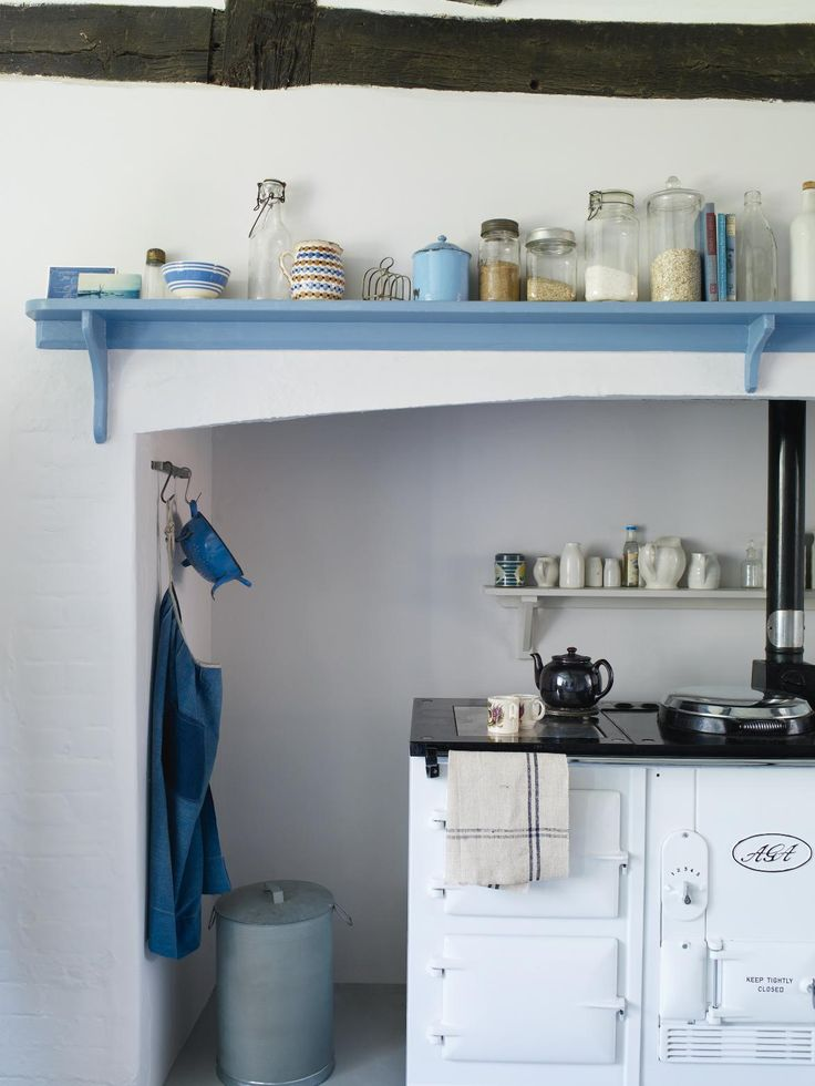 white Aga in white kitchen with light blue accents