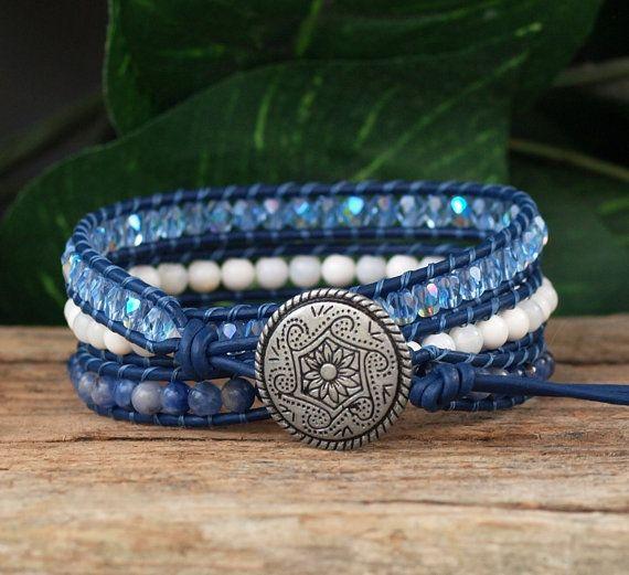 Beaded Bracelet Blue White Wrap Bracelet Triple Wrap by PJsPrettys