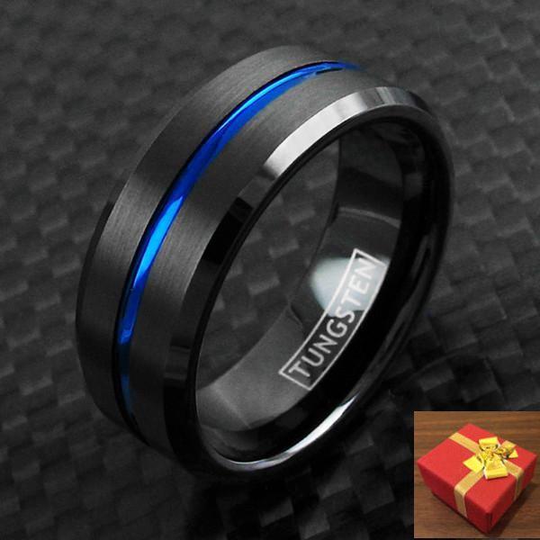 Black Tungsten Ring Thin Blue Line Brushed Band Men & Women Engraving Available  #DukeofBling #Band