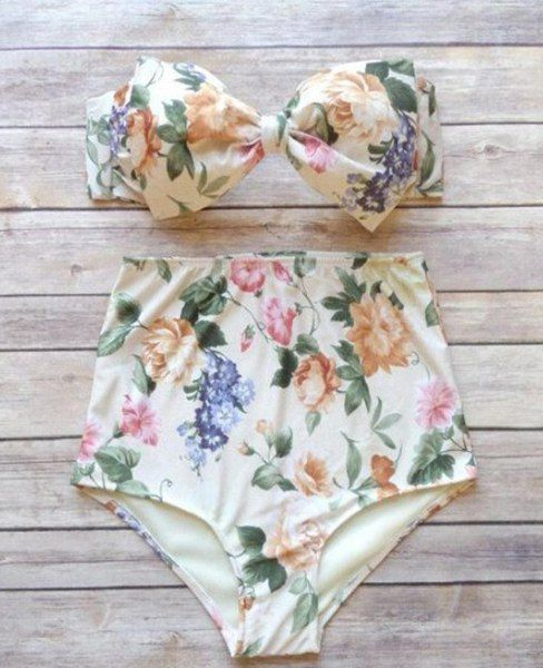 Sexy Strapless Bowknot Design Floral Print High-Waisted Bikini Set For Women