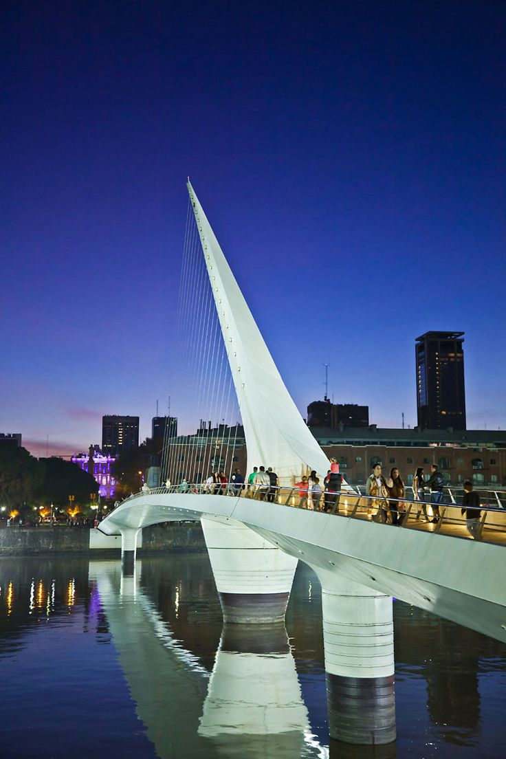 The Puente de la Mujer at dusk is an amazing sight to see when you visit Buenos Aires.