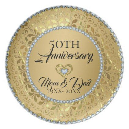 Metallic Gold Damask And Diamonds 50th Anniversary Melamine Plate - kitchen gifts diy ideas decor special unique individual customized