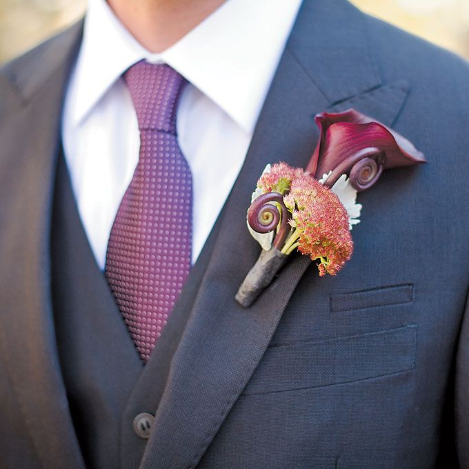 Brides: Calla Lily and Sedum Boutonniere. Adam accented his suit with a calla lily-and-sedum boutonniere.