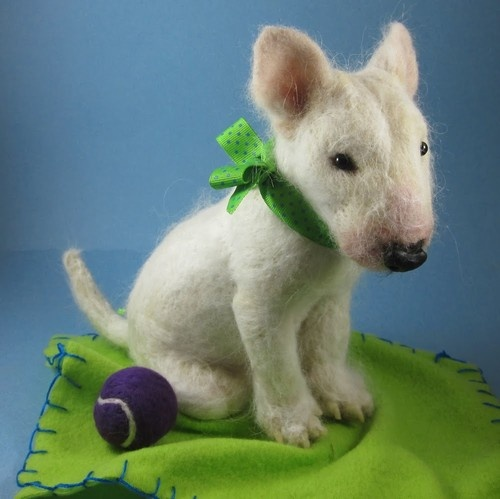 Orig Needle Felted Cute Baby Bull Terrier Puppy Dog by Artist Robin Joy Andreae | eBay