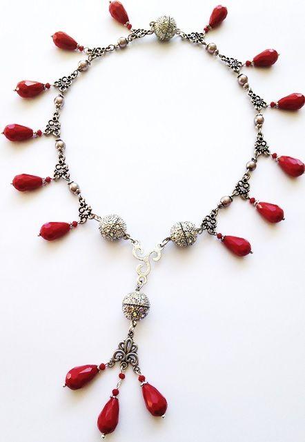 Gorgeous red necklace - wear it THREE different ways! Attraxionz Modular Magnetic Designer Jewellery - designed & handmade by Kassandra Behrendt.  #attraxionz #modular #modularmagnetic #magneticjewellery #handmade #rednecklace #necklace #fashion