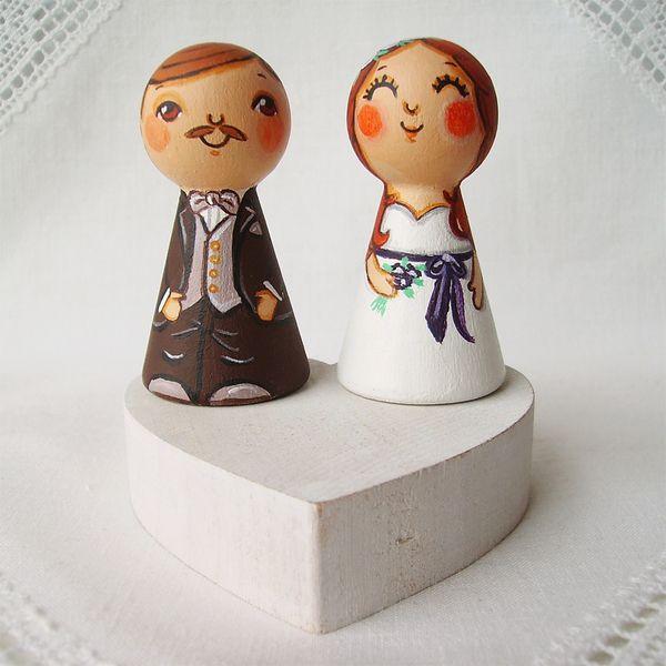 Hochzeitsdeko - Cake topper Brautpaar Hochzeitspaar Hochzeit deko - ein Designerstück von under-angel-wings bei DaWanda