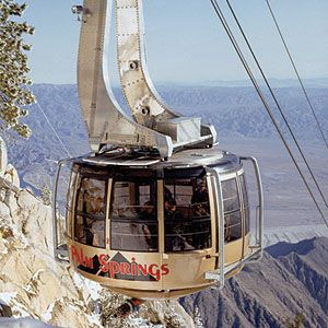 A must is a ride on the Palm Springs Aerial Tramway. The 10-minute journey in a rotating glass-encased car takes you 2.5 miles up, transporting you from desert sands to an alpine mountaintop with hiking trails, panoramic views, a natural history museum, and restaurants.