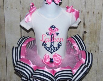 Náutico tutu ajuste cinta de anclaje conjunto traje! Rosa y Marina de guerra, otros colores disponibles! Vestido de cumpleaños de temática náutica, tema de desfile náutico