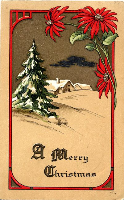 Art Nouveau Merry Christmas Greetings Vintage Postcard. By PostcardBoutique, $6.00
