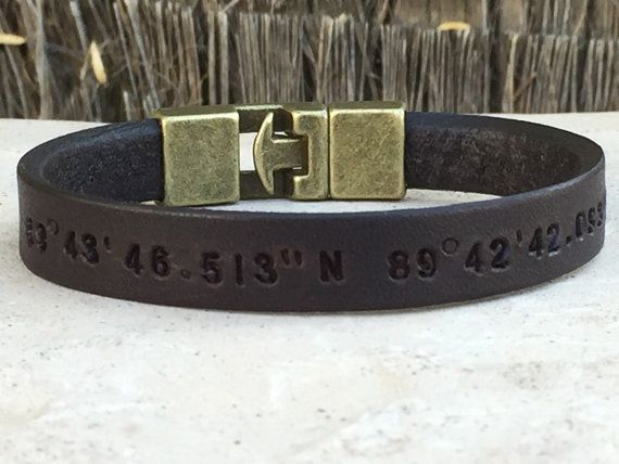 Personalized Mens Leather Bracelet -Leather Strap 3/8 -Font size 3mm  All my bracelets are made with EXCELLENT QUALITY material ****  ******