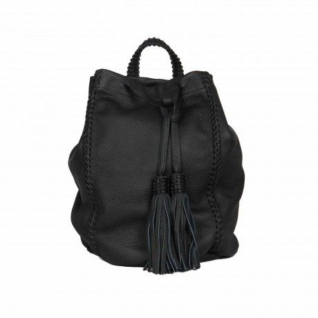 CALLISTA CRAFTS LATTICE BLACK LEATHER BACKPACK