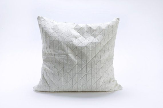 White origami geometric pillow cover 50x50 cm, 19.5X19.5 inch, Printed pillow cover Home decor accessory