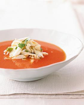 Thai-Spiced Watermelon Soup with Crabmeat. (Trust me on this one. This soup is amazing. The watermelonness is VERY subtle. - Leslie)       Thai-Spiced Watermelon Soup with Crabmeat Recipe  at Epicurious.com