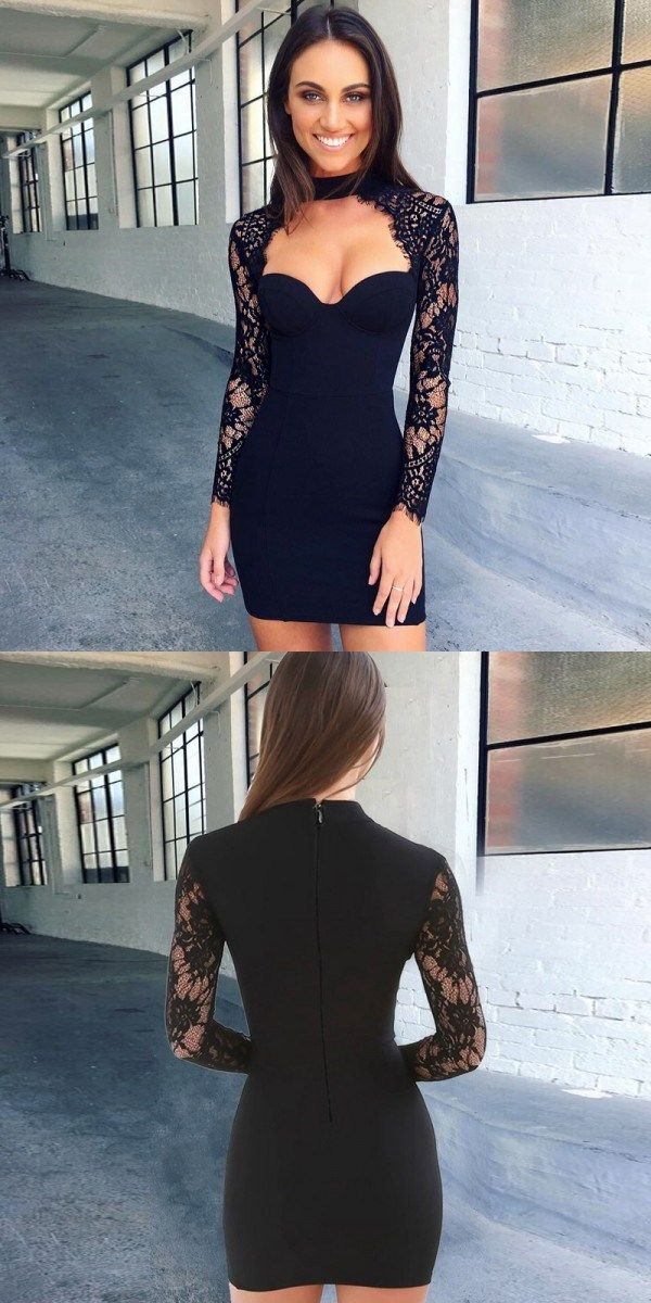 long sleeves lace tight dresses, cut out bodycon homecoming dresses, black bodycon short prom dresses
