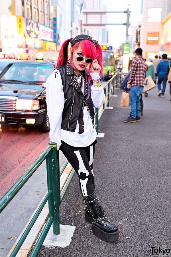 Studded Vest & Dip Dye Hair in Harajuku...ravery...kind of