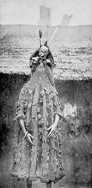 """African """"Juju costume"""". Cross River Egbo Society. Image taken from a lecture given by Carl Meinhof on African Religion in Hamburg, 1912. Shaman, ritual, costume"""