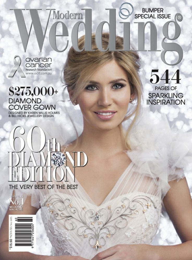 Karen Willis Holmes Diamond Couture Gown On The Cover Of Modern Wedding Magazine For