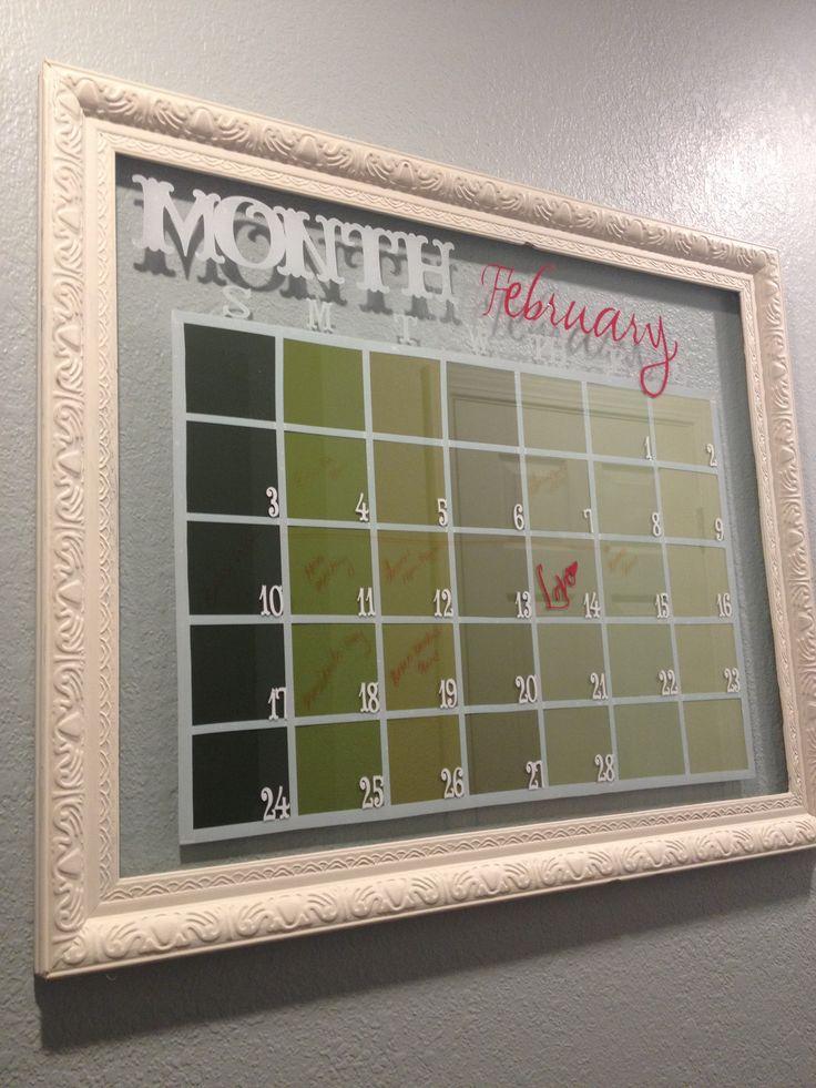 glass framed dry erase calendar