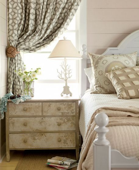 GREAT neutral bedroom: taupe and off-white: painted night table/chest, cool pillows, draperies, lamp, LOOK!!