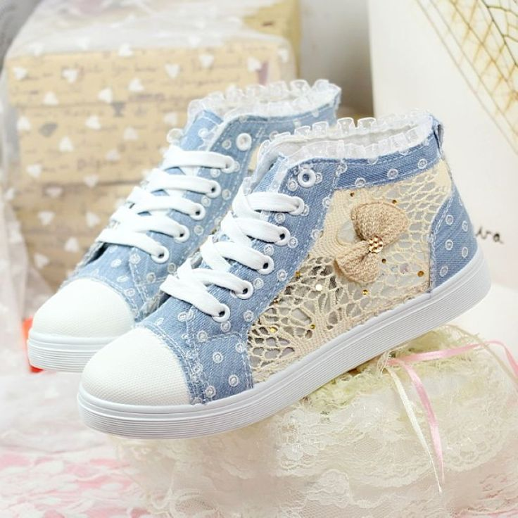 Aliexpress.com : Buy fashion casual lace floral butterfly table blue denim high top flats sneakers canvas shoes for women from Reliable shoe sneaker suppliers on Sun Star Shine. $27.90