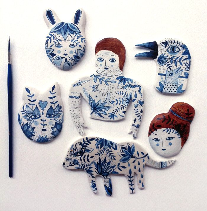 Oversize ceramic brooches