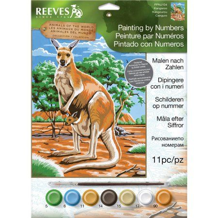 Junior Paint By Number Kit, 9 inch x 12 inch, Kangaroo, Multicolor