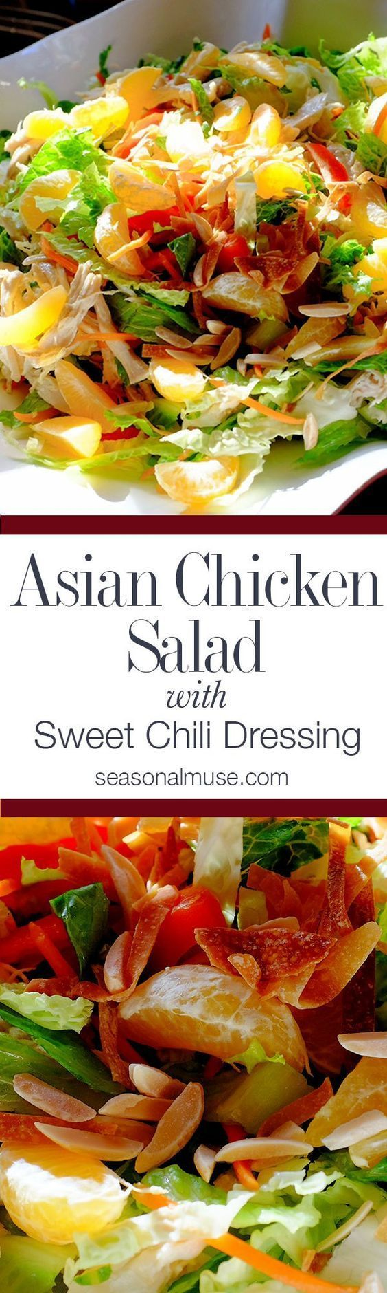 Asian Chopped Salad with fresh mandarin oranges. Easy recipe with chicken, crisp chopped vegetables, baked wonton, almonds, sweet chili dressing.