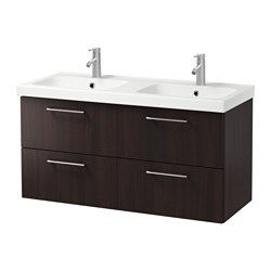 "IKEA - GODMORGON / ODENSVIK, Sink cabinet with 4 drawers, black-brown, 47 1/4x19 1/4x25 1/4 "", , 10-year Limited Warranty. Read about the terms in the Limited Warranty brochure.Smooth-running and soft-closing drawers with pull-out stop.You can easily change the size of the box by moving the divider.You can easily see and reach your things because the drawers pull out fully.Drawers made of solid wood, with bottom in scratch-resistant melamine.Perfect for more than one since the sinks has two…"