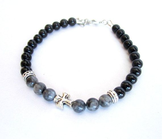 Mens cross bracelet larvikite black onyx stone by Bravemenjewelry