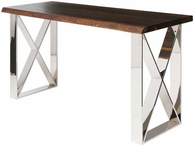 The Table Top Is Crafted From Oak, And The Handsome Chromed Steel X Shaped.