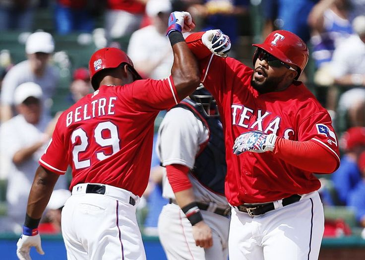 Prince Fielder, right, celebrates hit two-run home run with teammate Adrian Beltre