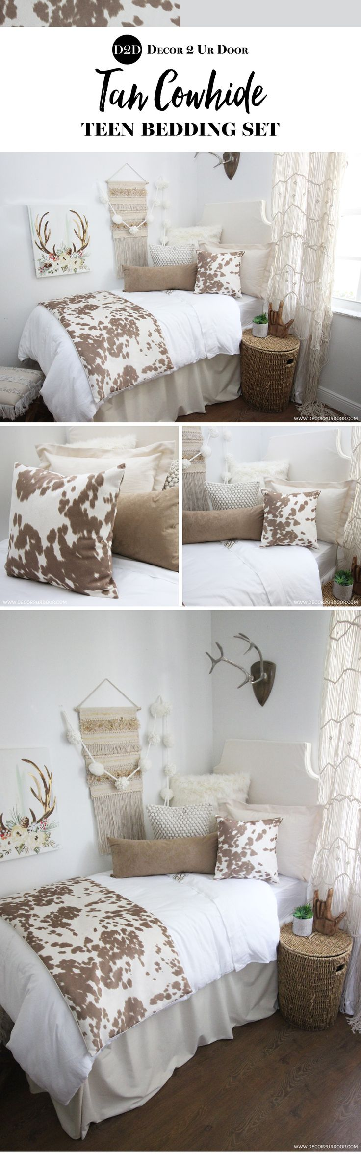 Holy COW-hide! This rustic farmhouse teen bedding set features simple neutrals and linens with textured fur, suede, and super-soft cowhide fabric. Y'all can't go wrong with cowhide teen bedding!
